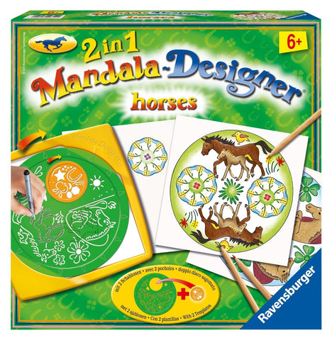 2 in 1 Mandala Designer  Arts & Crafts Kit by Ravensburger - HORSES