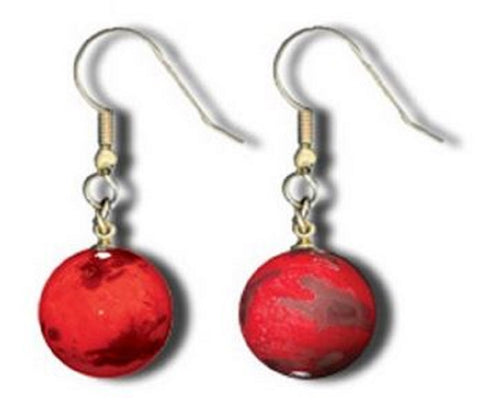 Earrings - Red Recycled Glass - Mars Marbles With Gold Fill Findings