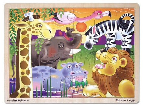 African Plains Animals Jigsaw Tray Puzzle 24 Wooden Pieces