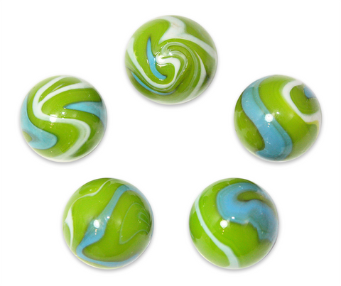 "1"" Mermaid Glass Mega Marble 25mm Shooters - Pack of 5 w/Stands"