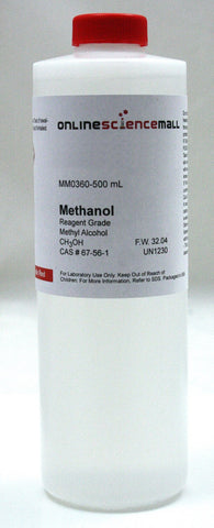 Methyl Alcohol (Methanol), 500mL - Reagent Grade Chemical Reagent