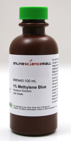 Methylene Blue 1% Solution, 100mL - Lab Grade Chemical Reagent