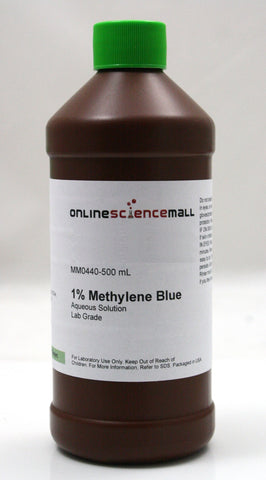 Methylene Blue 1% Solution, 500mL - Lab Grade Chemical Reagent
