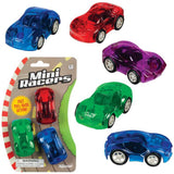 Mini Racers Pull Back Action Cars Assorted Colors -  Pack of 3 (3 Cars per Pack)