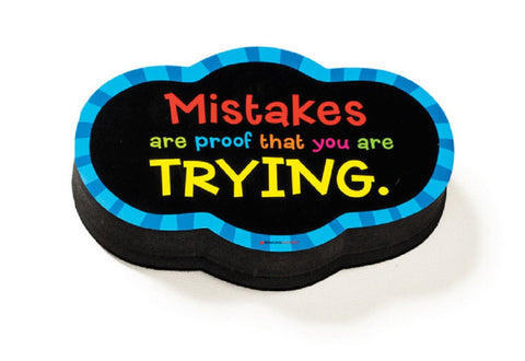 Mistakes Quote Magnetic Whiteboard Eraser - Dry Erase Magnet Tool