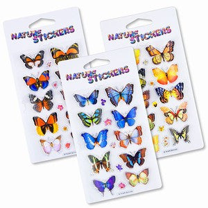 Rain Forest Butterfly 3D Nature Stickers Assortment Pack of 3