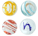 25mm Handmade Art Glass Glow in the Dark Moonstone Marbles Pack of 4 w/Stands