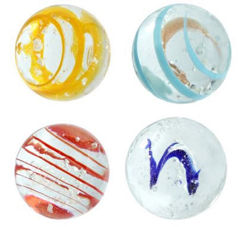 """Moonstone"" 25mm Handmade Art Glass Glow in the Dark Marbles - Pack of 4 w/Stands"