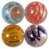 16mm Handmade Art Glass Glow in the Dark Moonstone Marbles Set of 4 w/Stands