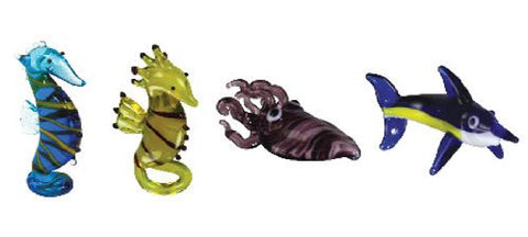 Looking Glass Torch - Ocean Figurines - 2 Different SeaHorses, Cuttlefish & Marlin (4-Pack)