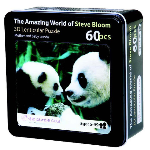 3D Lenticular Puzzle From Steve Bloom Images - Mother and Baby Panda (60 Pieces)