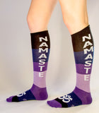 NAMASTE Socks - Navy, Purple, Lavender, Black & White Unisex Dress Knee Socks