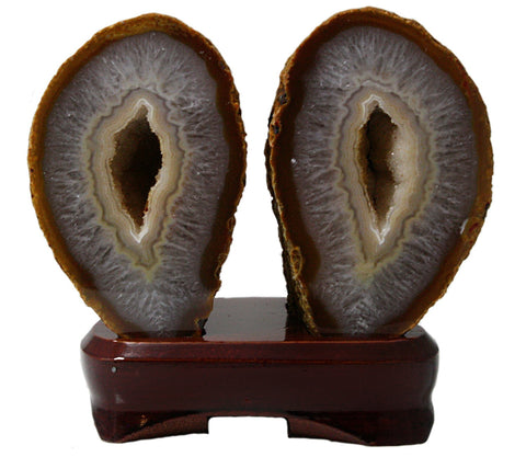 Pair of Matching Geodes on Wood Base