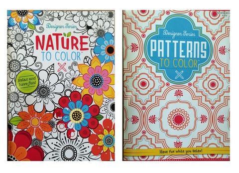 Set of 2 Designer Series Nature To Color & Patterns To Color Adult Coloring Books