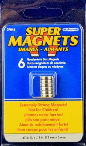 Neodymium Disc Magnets Pk/6 .47 x .11 inches