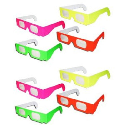 8 pairs 3D Fireworks Glasses Neon Multi-Starbursts of 3D Color