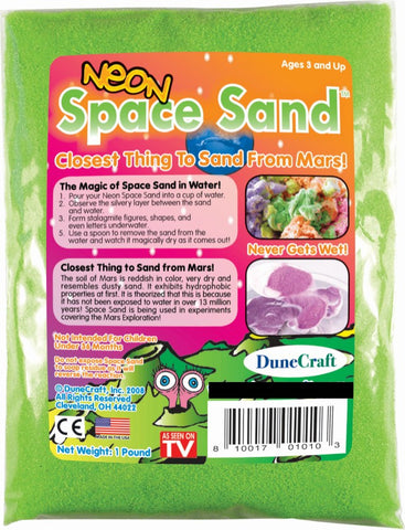 Neon Green Space Sand: 1lb of Hydrophobic Sand