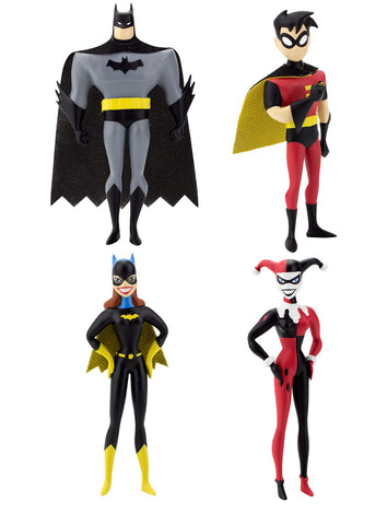 The New Batman Adventures Bendable Figures - Batman, Robin, Harley Quinn & Batgirl
