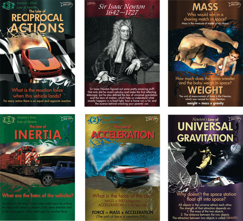 Isaac Newton Laws and Theories Laminated 6 Classroom Poster Set