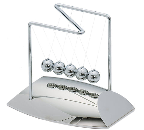 7 Inch Tall Newton's Cradle with Silver Mirrored Base