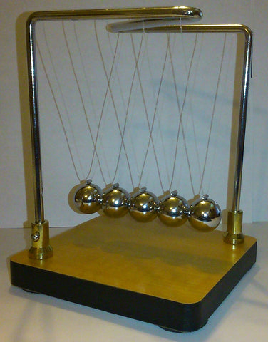 Newtonian Demonstrator- 6 Inch Tall Newton's Cradle on Wood-Grain Base