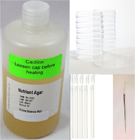Nutrient Agar Kit RTP/Petri Dishes/Swabs/ Inoculating Loop