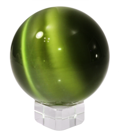 Dark Olive Green 50mm Cat's Eye Orb Gemstone Large Crystal Ball w Glass Stand