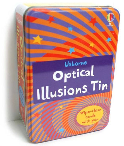 Usborne Books:  OPTICAL ILLUSIONS  Tin - 80  Wipe Clean Cards & Pen