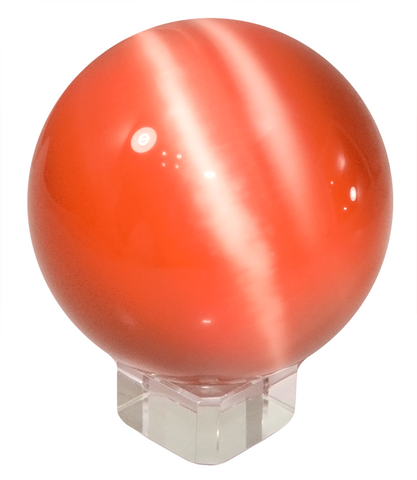Orange 60mm Cat's Eye Orb Gemstone Crystal Ball w Glass Stand
