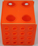 Cube Test Tube Rack - Four Sizes of Holes - Plastic Neon Orange