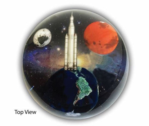 Andromedome - 3.75 Inch Planetary Embedment Paperweight w Orion Rocket
