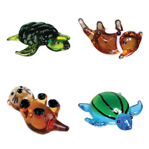 Looking Glass - Ocean Figurines - 2 Different Turtles & 2 Different Otters (4-Pack)