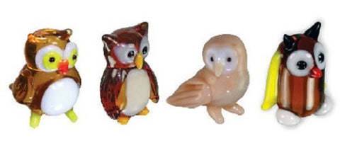 Looking Glass Torch Bird Figurines - 4 Different Owls (4-Pack)