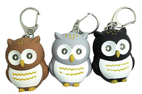 LED Barnyard Brite Owl Key Chain Flashlight w/Sound - Colors Vary