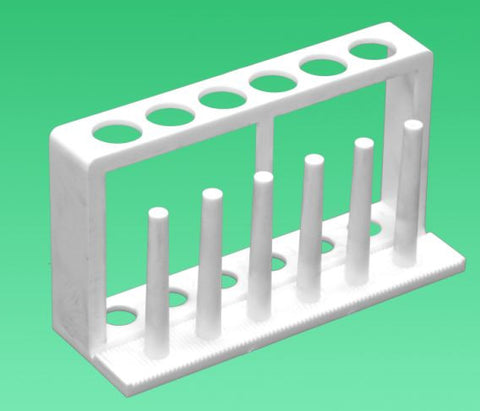 Plastic Test Tube Rack-White w/6 Holes & 6 Drying Pins