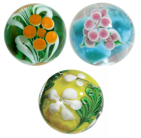 22mm Handmade Art Glass Flower Marbles w/Stands, Set of 3 - Paeony, Wisteria, & Meadowseet - Colors Vary