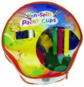 Non-Spill Paint Cup and Chubby Paint Brushes Set