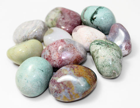 Painted Jasper Agate Mineral Rock Specimens, Tumbled - Pack of 10