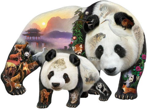 Panda Playground Bear Shaped Jigsaw Puzzle 1000 Piece
