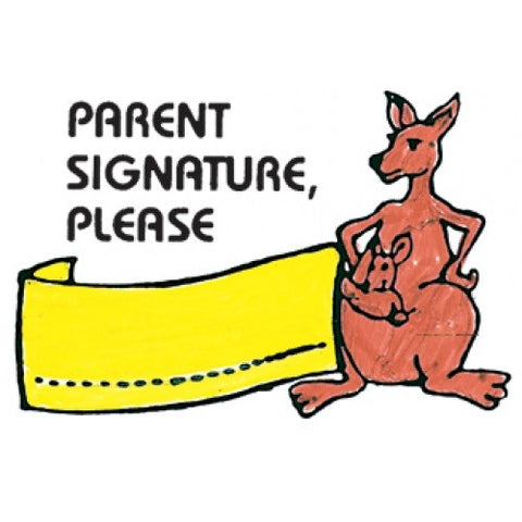 Parent Signature Please-Kangaroo Rubber Stamper: Teachers Aid