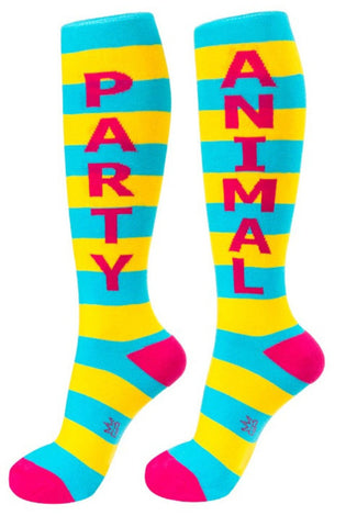 Party Animal Socks - Turquoise, Yellow and Hot Pink Unisex Knee High Socks