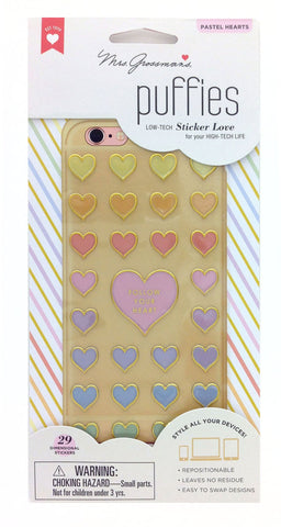 Mrs Grossman's Stickers - Pastel Hearts Puffies