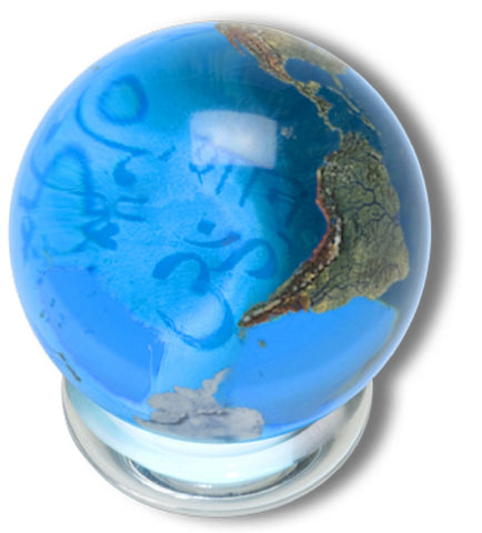 Peace Orbacle - Aqua Crystal Earth Sphere 37 Languages - 1.4 Inch with Stand