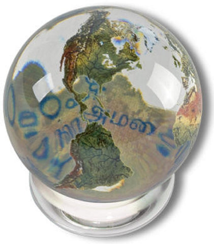 Peace Orbacle - Clear Crystal Earth Sphere 20 Languages - 1 Inch with Stand