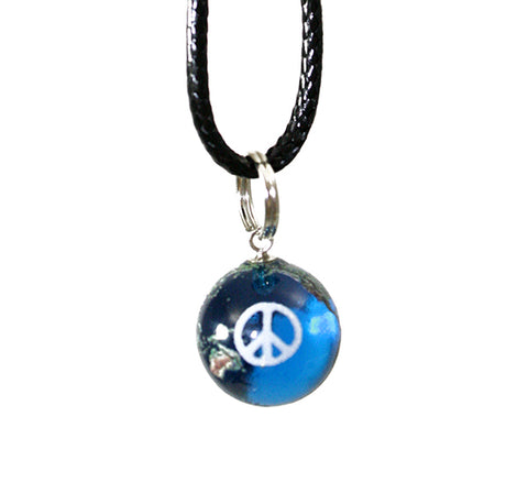 Peace Sign Earth Marble Necklace - 1/2 Inch Blue Recycled Glass Earth Orb w Black Waxed Cotton Cord