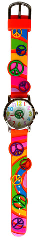 The Kids Watch Company Peace Signs Watch One Size Orange Band