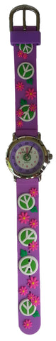 Solo Time Peace Sign Watch Kids One Size Purple Band
