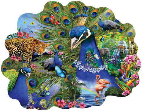 Proud Peacock Bird Shaped Jigsaw Puzzle 1000 Piece with Hidden Hummingbirds & Tree Frogs
