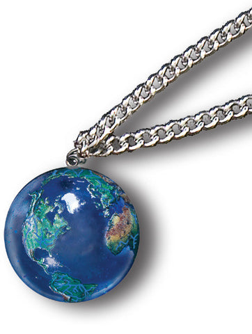 Blue Earth Globe Marble Pendant on Stainless Steel Chain Necklace