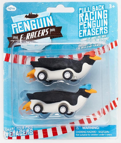 Penguin E-Racers - Set of 2 Pull Back Racing Erasers